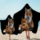Fox & Cub Hooded Towel