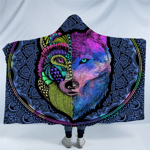 Artistic Wolf Hooded Blanket