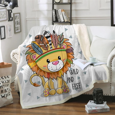 Cartoon Wild & Free Lion Throw Rug