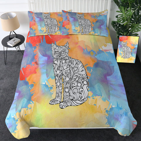 Black & White Cat (Watercoloured Rainbow) Bedding Set