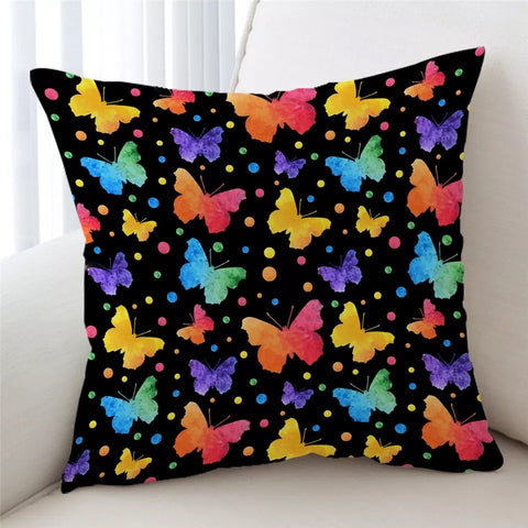 Neon Butterflies Cushion Cover