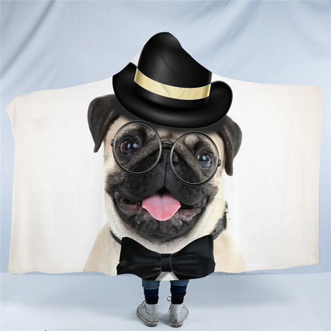 Gentleman Pug Hooded Blanket