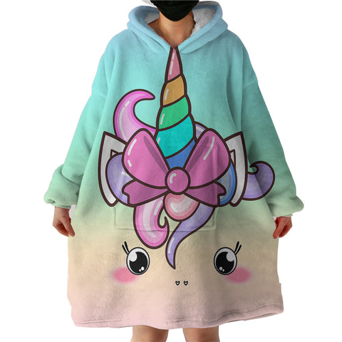 Cute Unicorn With Bow Sherpa Hoodie