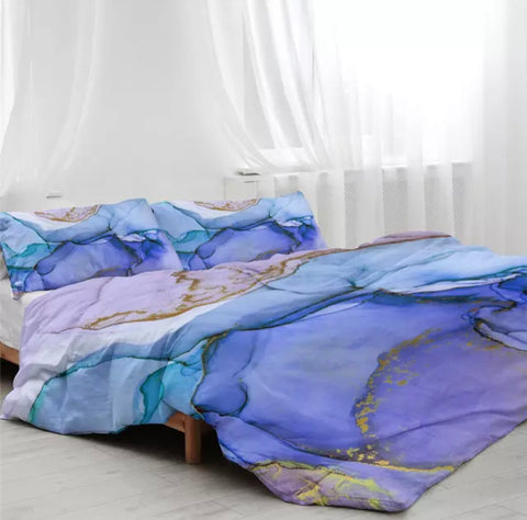 Lavender, Light & Dark Blue & Purple Marble Bedding Set
