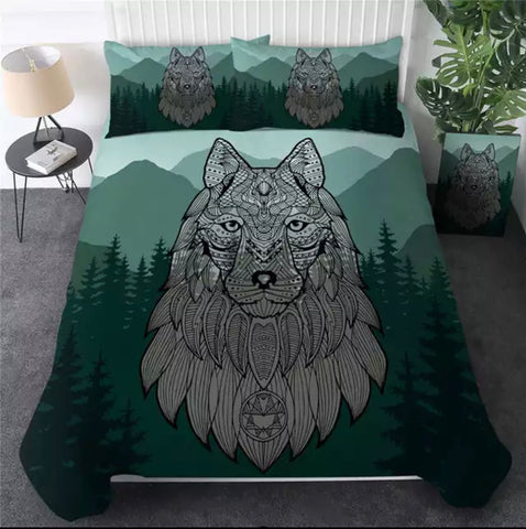 Green Forest Wolf Bedding Set