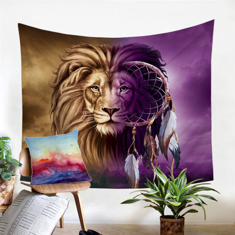 Lion Infused Dreamcatcher Wall Tapestry