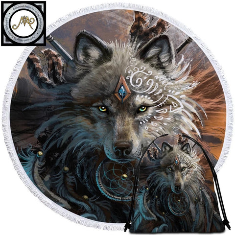 Wolf Warrior By SunimaArt Round Towel