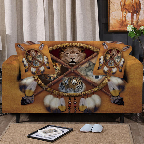 Wolf, Lion, Leopard & Tiger Dreamcatcher Sofa Cover