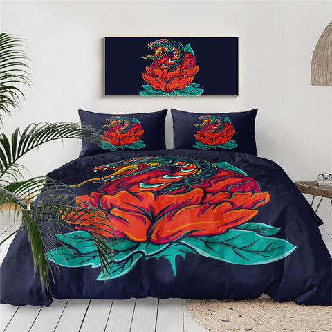 Snake & Red Flower Bedding Set