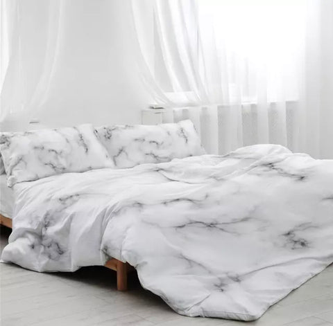 Grey Whispers On White Marble Bedding Set