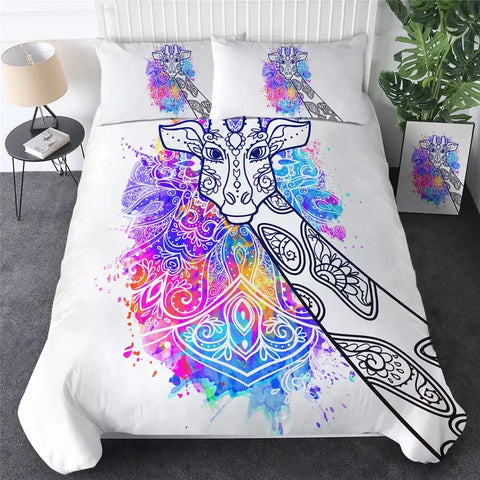 Watercolour Giraffe Mandala Bedding Set