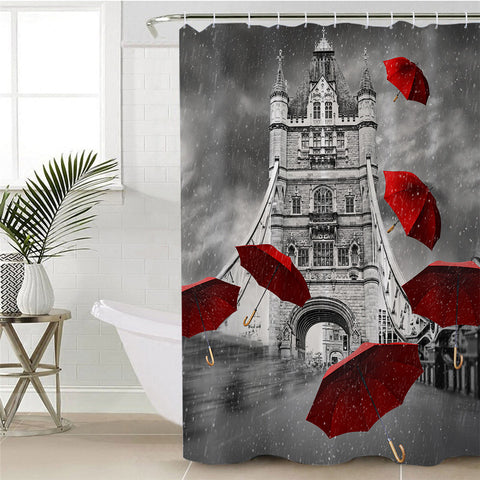 Red Umbrellas Tower Of London Shower Curtain