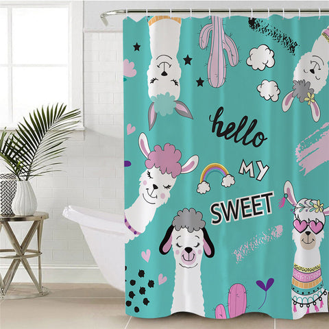 Hello My Sweet Llama Shower Curtain