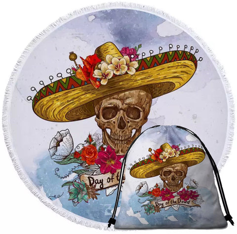 Mexican Day Of The Dead Round Towel