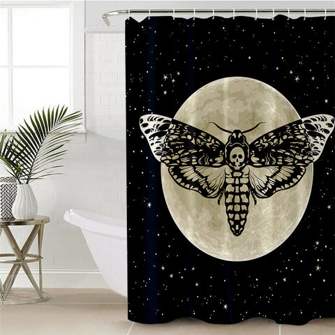 Death Moth (Black) Shower Curtain