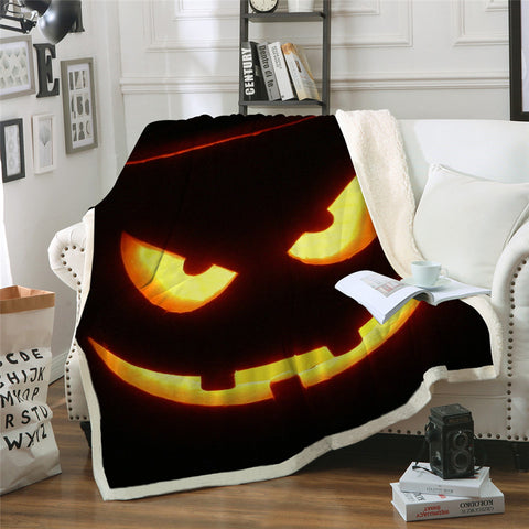 Halloween Pumpkin Grin Throw Rug