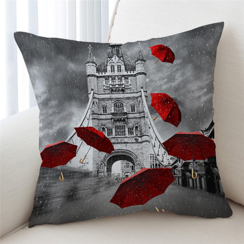 Red Umbrellas Tower Of London Cushion Cover