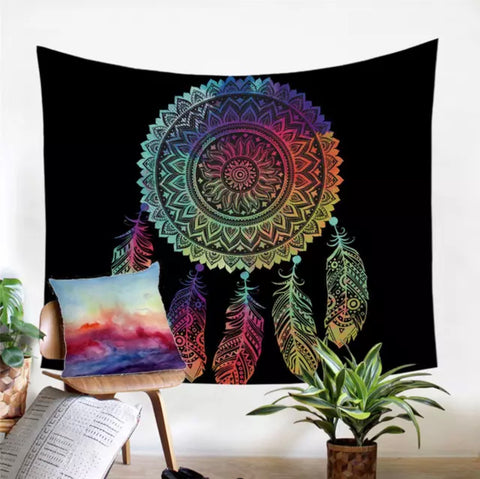 Rainbow Dreamcatcher Wall Tapestry