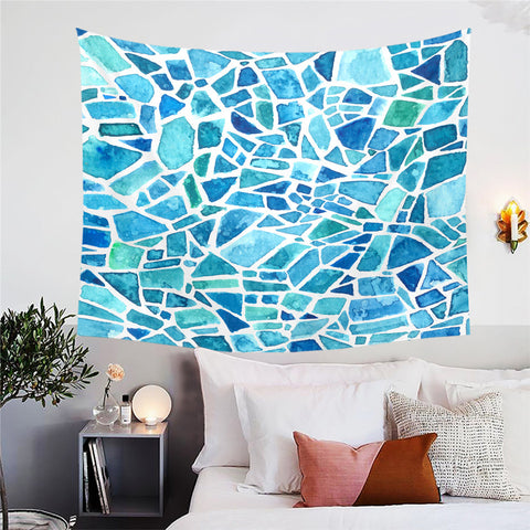 Blues Mosaic Wall Tapestry