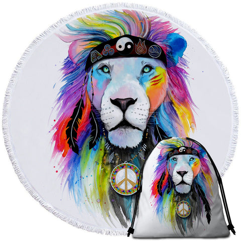 Hippie Lion By Pixie Cold Art Round Towel