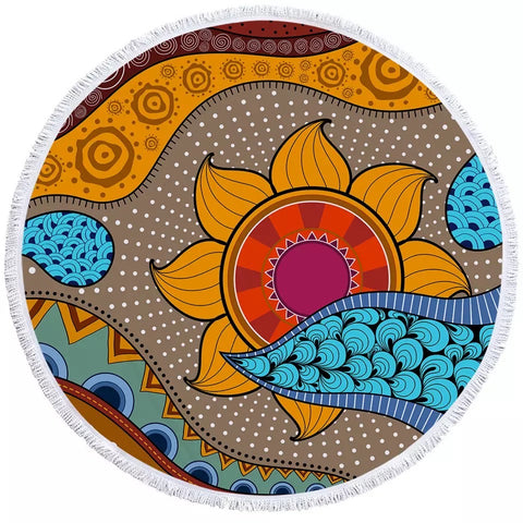 African Tribal Flower  Round Towel