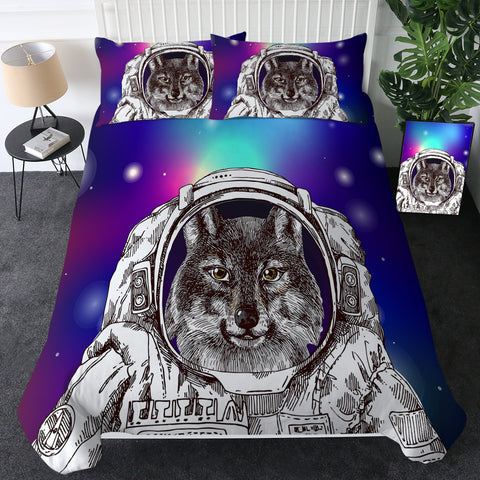 Cosmic Astronaut Fox Bedding Set
