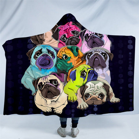 Rainbow Pugs Hooded Blanket