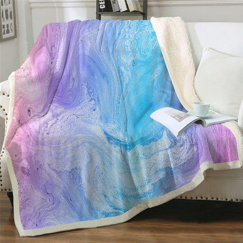 Pink, Purple & Blue Watercolour Throw Rug