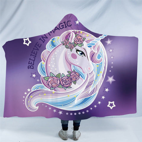 Purple Believe In Magic Hooded Blanket