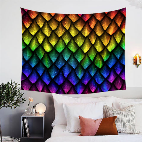 Rainbow Dragon Scales Wall Tapestry