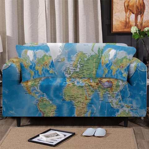 World Map Sofa Cover