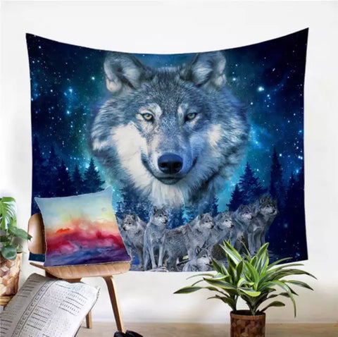 Wolf Watching Over His Pack Wall Tapestry