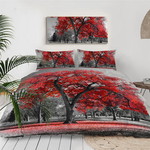 One Red Tree Bedding Set