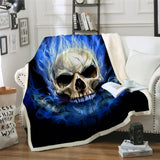 Blue Flamed Skull Throw Rug