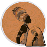 African Lady (Orange) Round Towel