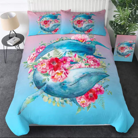 Floral Whale Bedding Set