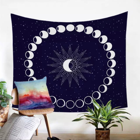 Celestial Moon Phases Wall Tapestry