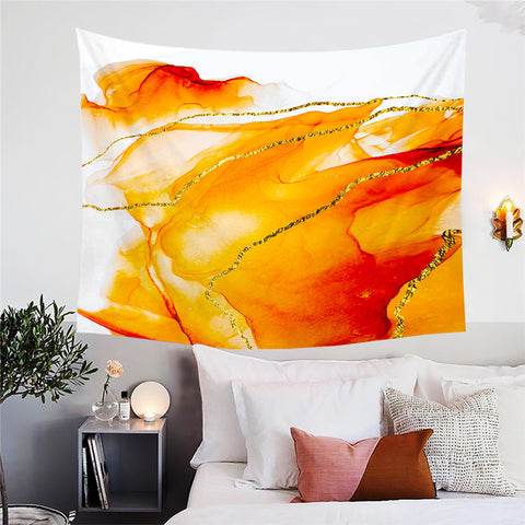 Orange, Gold & White Marble Wall Tapestry