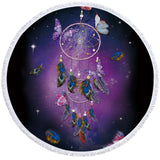 Purple Dreamcatcher & Butterflies Round Towel