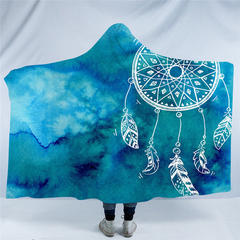 Blue Dreamcatcher Hooded Blanket