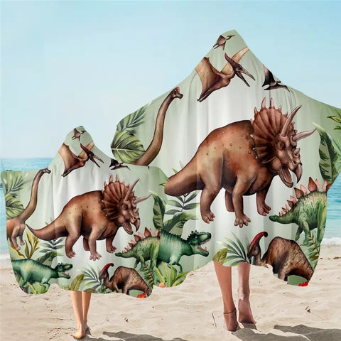 Dinosaur Breeds Hooded Towel