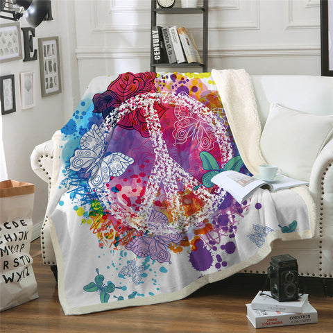 Peace With Butterflies Throw Rug