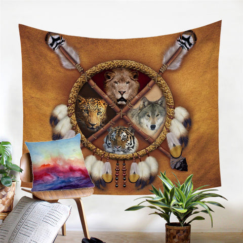 Wolf, Lion, Leopard & Tiger Dreamcatcher Wall Tapestry