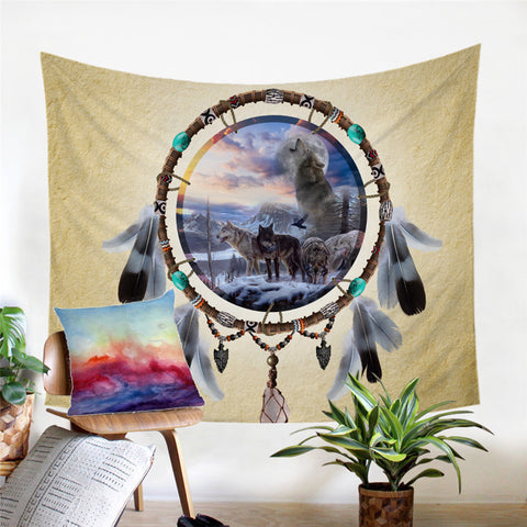 Picture Of Wolves In The Dreamcatcher Wall Tapestry