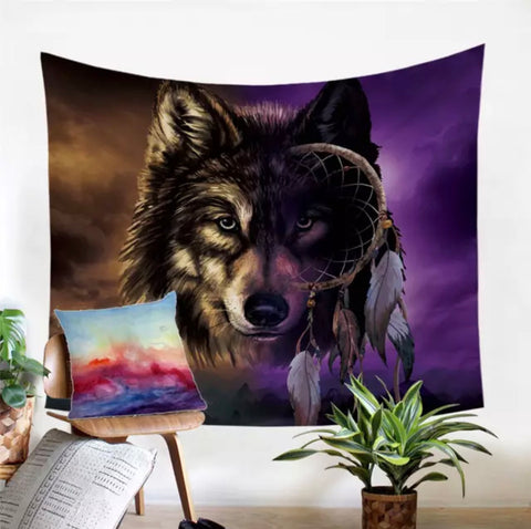 Wolf Infused Dreamcatcher Wall Tapestry