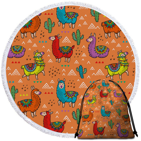 Colourful Argentina Llama Round Towel