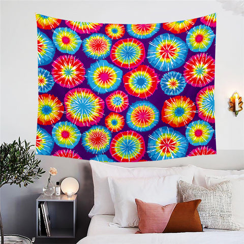 Red & Blue Tie Dye Circles Wall Tapestry