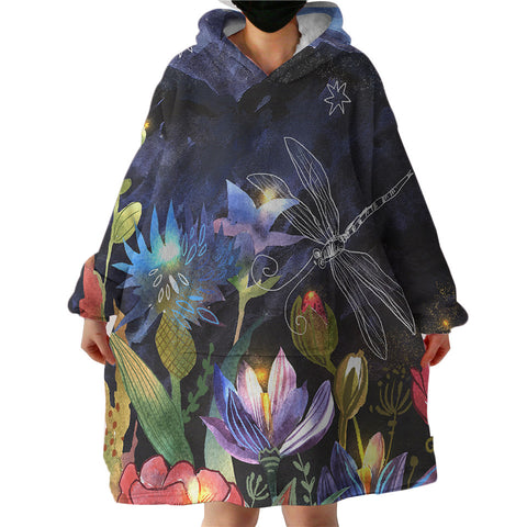 Dragonfly Hovering Over Flowers Sherpa Hoodie