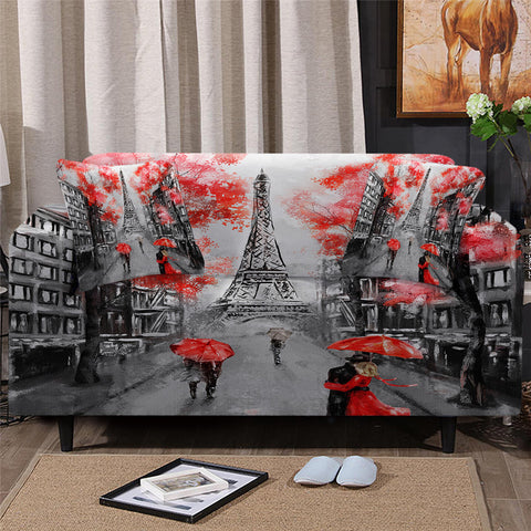 People Holding Umbrellas In Paris Sofa Cover