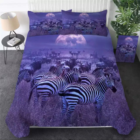 Purple Zebras Bedding Set
